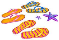 Set of shoes flip-flops with two starfish Royalty Free Stock Images