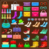 Set shoes, handbags and accessories Stock Photos