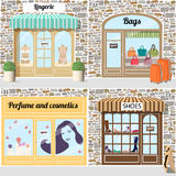 Set of  shoes, lingerie, bags,  perfume and cosmetics shop. Stock Photos