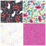 Set of shoes seamless pattern background Royalty Free Stock Images
