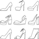 Set of shoes silhouettes on white background. Collection of shoes silhouettes on white background Royalty Free Illustration