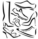 Set of shoes sillhouettes, sketch in simple lines Royalty Free Stock Photo