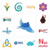 Set of shoes with wings, nail studio, nervous system, stratis, holy trinity, gun store, nargile, grim reaper, auto body repair ico. Set Of 13 simple  icons such Royalty Free Stock Photo