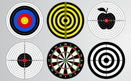 Set of target, shooting range, dart board. royalty free illustration