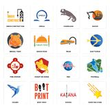 Set of shooting stars, katana, colibri, med, fire station, train, bengal tiger, chameleon, under construction icons. Set Of 16 simple editable icons such as Royalty Free Stock Images
