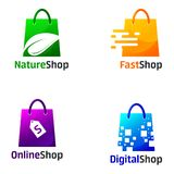 Set Of Shop Logo Design Templates royalty free illustration