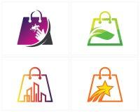 Set of Shop Logo designs Template. Online Shop, Green Shop, City Shop, Star Shop, Bag Logo Vector royalty free illustration