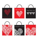 Set of Shoping Bags for valentine`s day Royalty Free Stock Photos
