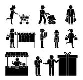 Set of shoppers and shopping icons. Showing a woman with a trolley  dispatch  choosing clothes  delivery  gift  promotion  packaging  and ordering  in black and Royalty Free Stock Image