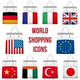 Set Shopping bag with flag of different country. Stock Images