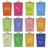 Shopping bag and horoscope, vector illustration. Set of 12 shopping bag with horoscope signs on   white background,  vector illustration Royalty Free Stock Image