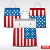 Set of Shopping bag with USA flag Stock Images