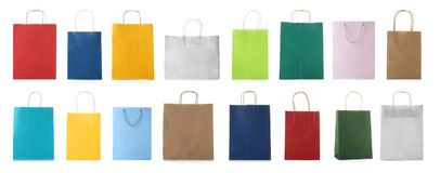 Set with shopping bags. On white background royalty free stock photo