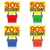 Set Of Shopping Basket Discount Royalty Free Stock Photo