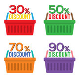 Set Of Shopping Basket Discount Royalty Free Stock Photography