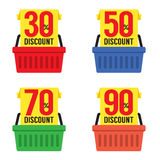 Set Of Shopping Basket Discount Royalty Free Stock Photos
