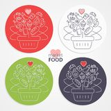 Set of shopping baskets with fruits, vegetables, cakes, meat, sa Royalty Free Stock Photo