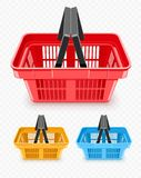Set of shopping baskets from supermarket vector. Set of shopping baskets from supermarket. Trading equipment. Empty boxes for goods transportation and delivery Royalty Free Stock Photos