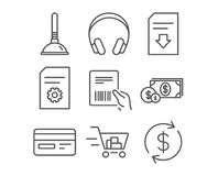 Shopping cart, Credit card and Dollar money icons. Plunger, File settings and Download file signs. Set of Shopping cart, Credit card and Dollar money icons Stock Image