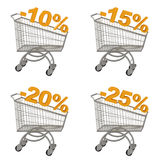 Set of shopping cart with discount. Minus ten, fifteen, twenty, twenty five percent. Isolated on white Stock Images