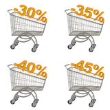 Set of shopping cart with discount. Minus thirty, thirty five, forty, forty five percent. Isolated on white Stock Photos