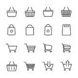 Set of shopping cart icons in modern thin line style. Royalty Free Stock Photo