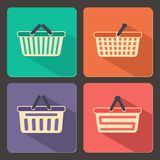 Set of shopping carts and baskets icons Royalty Free Stock Photography