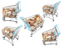 Set from shopping carts with euro coins isolated Stock Image