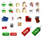 Shopping icons. Set of shopping and commerce icons isolated on white background stock illustration