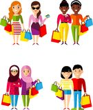 Set of shopping concept couple international people buyer. Vector illustration african american, european, arab buyer in the shop stock illustration