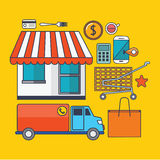 Set of  shopping concept design flat line. Illustration Royalty Free Stock Photography