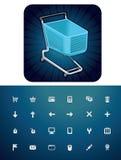 set shopping för vagnssymbol Arkivbild