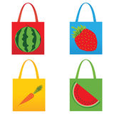 Set of shopping fruit bags  illustration Stock Photography