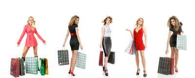 Set of shopping girls Stock Photography