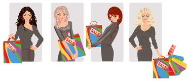 Set shopping girls. Vector illustration Royalty Free Stock Images