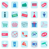 Set of shopping icons. Colored icons. Flat. Vector. Set of shopping icons. Colored icons. . 20 shopping icons. Flat icons. Vector icons Royalty Free Stock Photo
