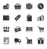 Set of shopping icons. Set of gray shopping icons on white background. Vector illustration Stock Photos