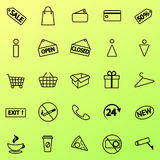 Set of shopping icons. Line icons. Vector. Set of shopping icons. Line icons. 20 shopping line icons. Vector line icons Stock Image