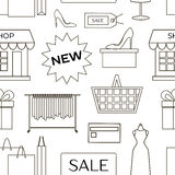 Set of shopping icons pattern Royalty Free Stock Images
