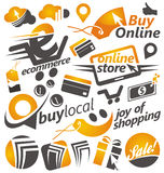 Set of shopping icons, signs and symbols Stock Photography