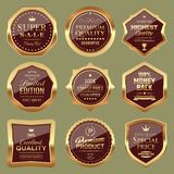 Set of Shopping and Marketing Badges. Set of Golden and Luxury Badges. Vector Marketing Labels Stock Images
