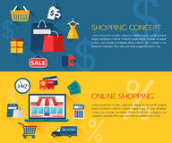 Set of shopping and online shopping concept Royalty Free Stock Photo