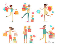 Set of Shopping People Concepts in Flat Design Royalty Free Stock Photography