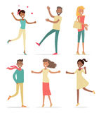 Set of Shopping People Vector Concept. Flat Design Royalty Free Stock Image