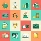 Set of shopping and sale line icons. Flat style. Set of banking and currency exchange line icons. Flat style design. Financial analytics and credit card deposit Royalty Free Stock Image