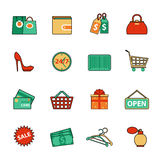 Set of shopping and sale line icons. Flat style Royalty Free Stock Photo