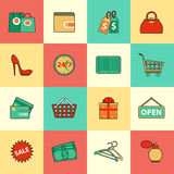 Set of shopping and sale line icons. Flat style Stock Photo
