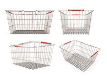 Set of shopping supermarket basket Stock Photos