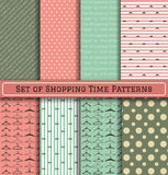 Set of Shopping Time Patterns. Set of Pattern hanger shopping time backgrownd, backgrounds with text and a set of various hangers. Scrapbook design elements, can Stock Photo