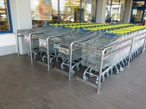 Set of shopping trolley in supermarket Royalty Free Stock Image
